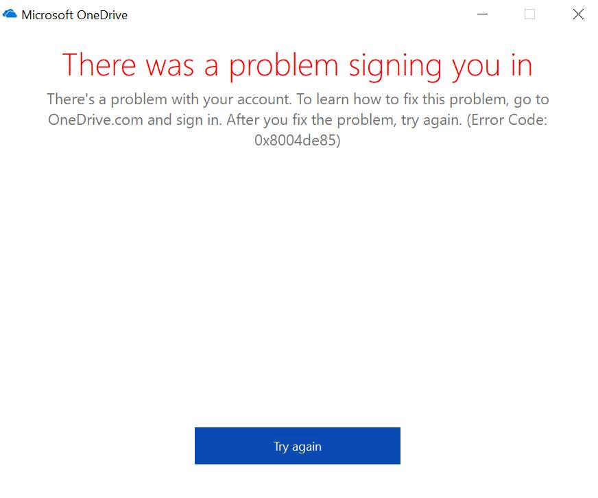 0x8004de86 OneDrive Error