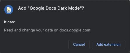 Add Extension - Google Docs Dark Mode