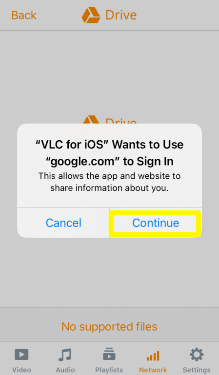 Allow Google Drive Access