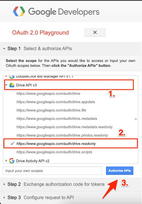 Authorize Google Drive API