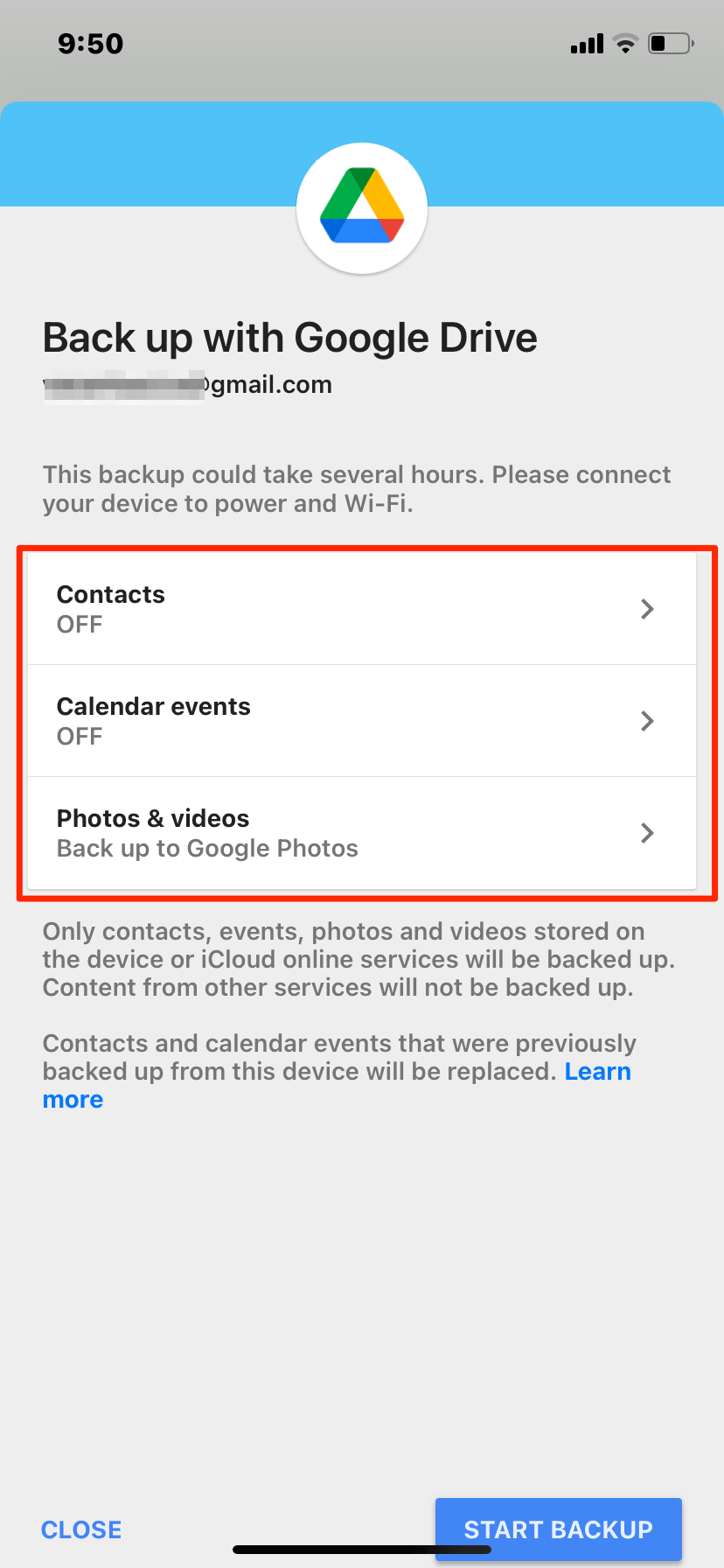 Backup Contacts, Events and Photos