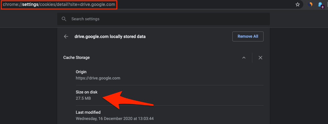 Cache Space Taken by Google Drive on Chrome