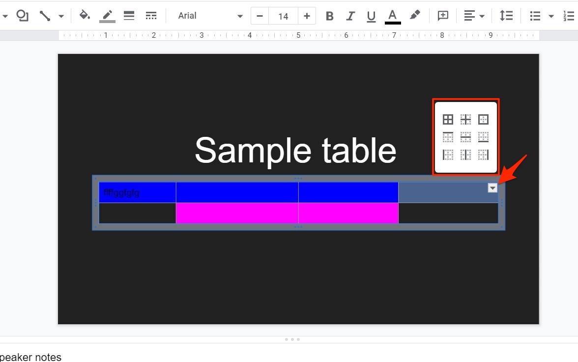 Change Table Width in Google Slides