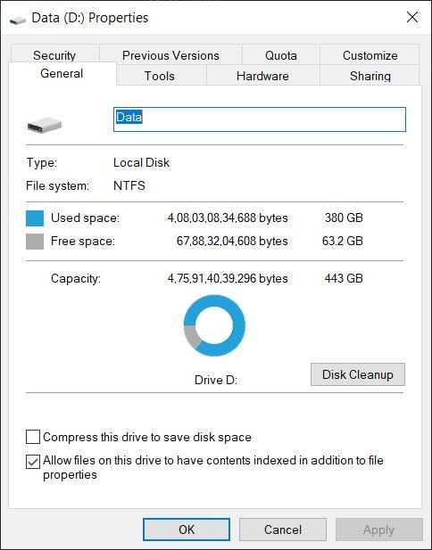 Check Partition Space