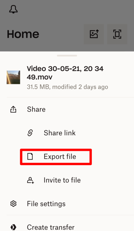 Click on Export File