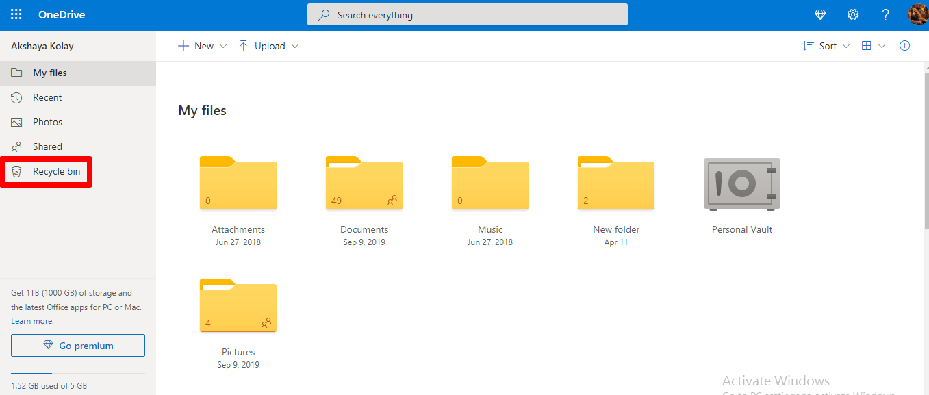 Click on Recycle Bin to Restore FilesClick on Recycle Bin to Restore Files