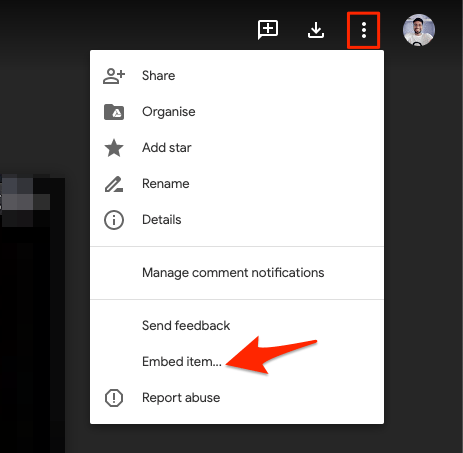 Click on Embed item