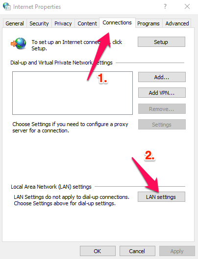 Connections LAN Settings