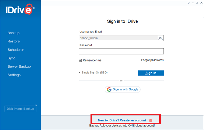 Create iDrive Account