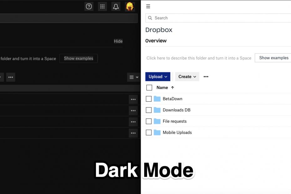 Dark Mode Dropbox Web PC