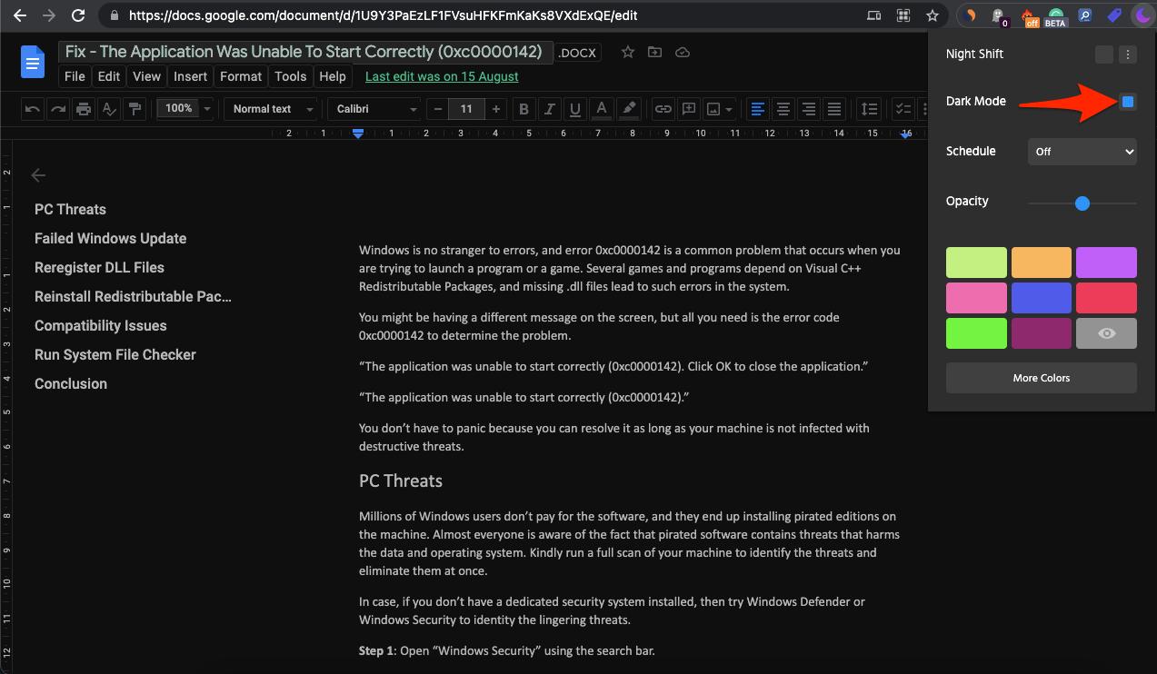 Dark Mode GDocs Chrome Extension