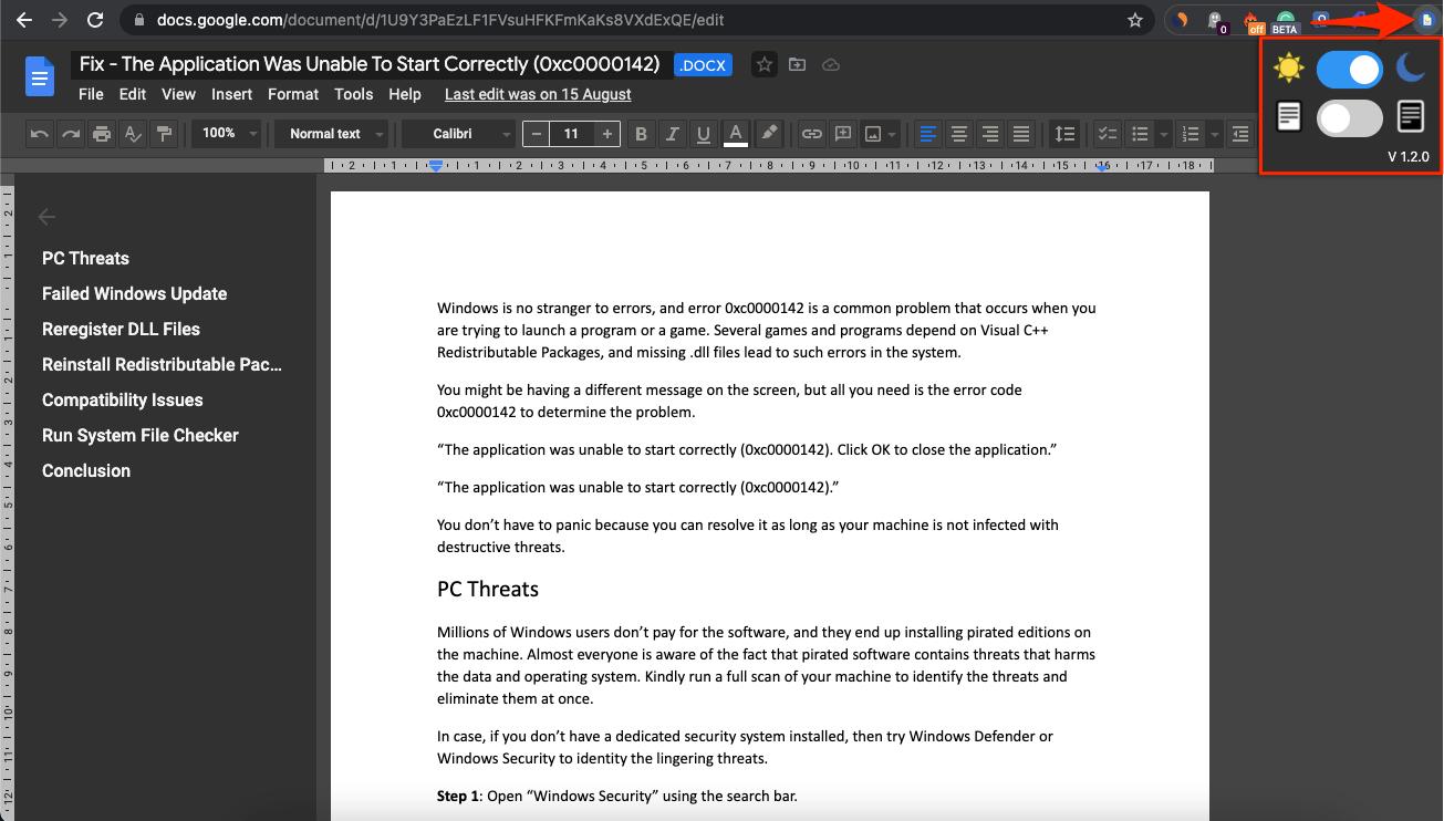 Dark Mode Google Docs