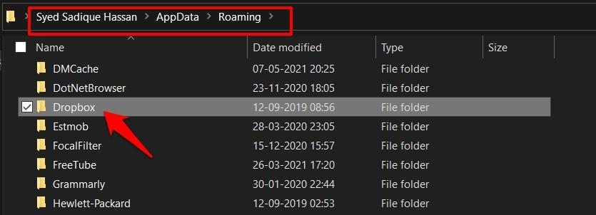 Delete Dropbox Cache Files