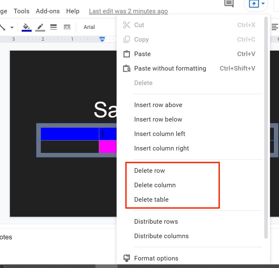 Delete Row or Column in the Existing Google Slides