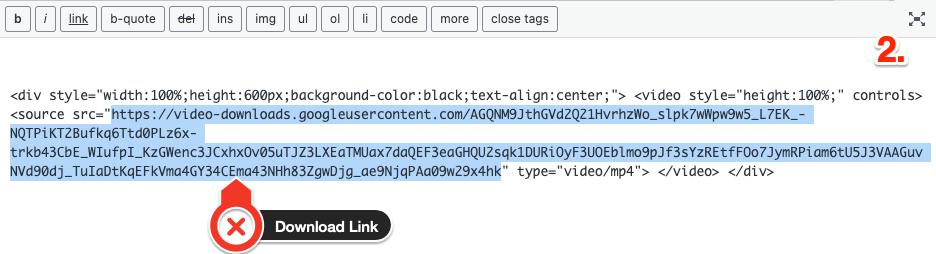 Download Link inside div element