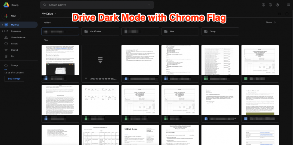 Dark Mode Google Drive after Chrome Flag