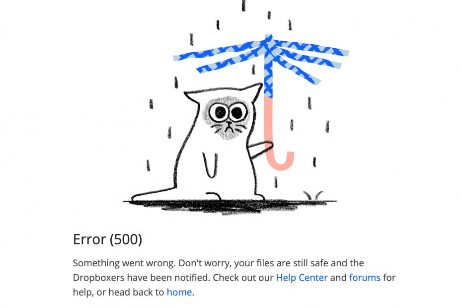 Dropbox error 500 fix
