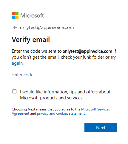 Enter Code Received to Verify your Account