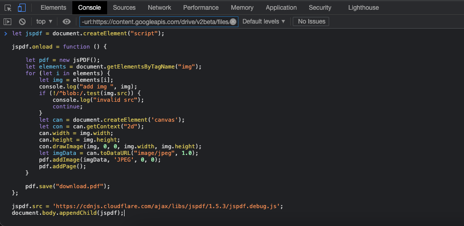 Enter JS Code in Console