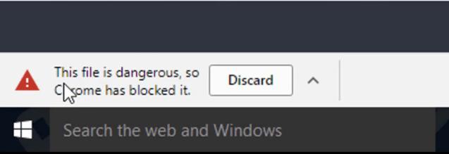 File is Dangerous Chrome Message