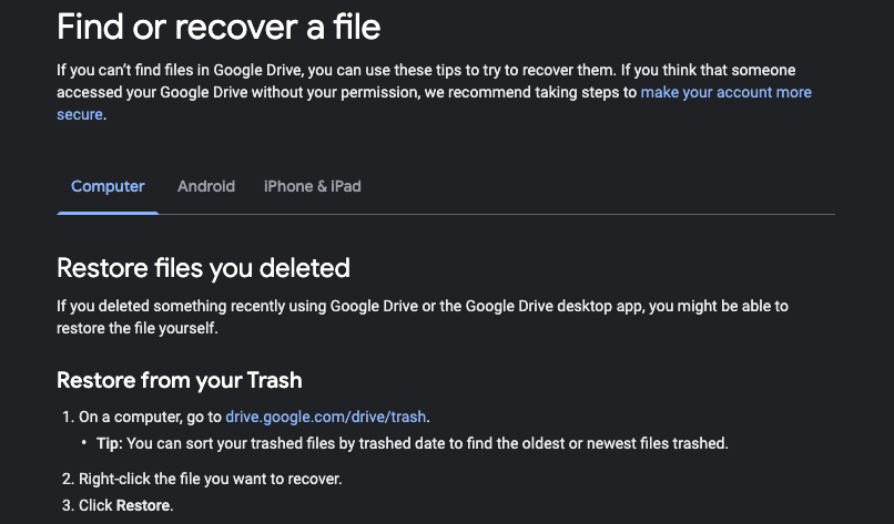 Find ir Recover a File Support Page