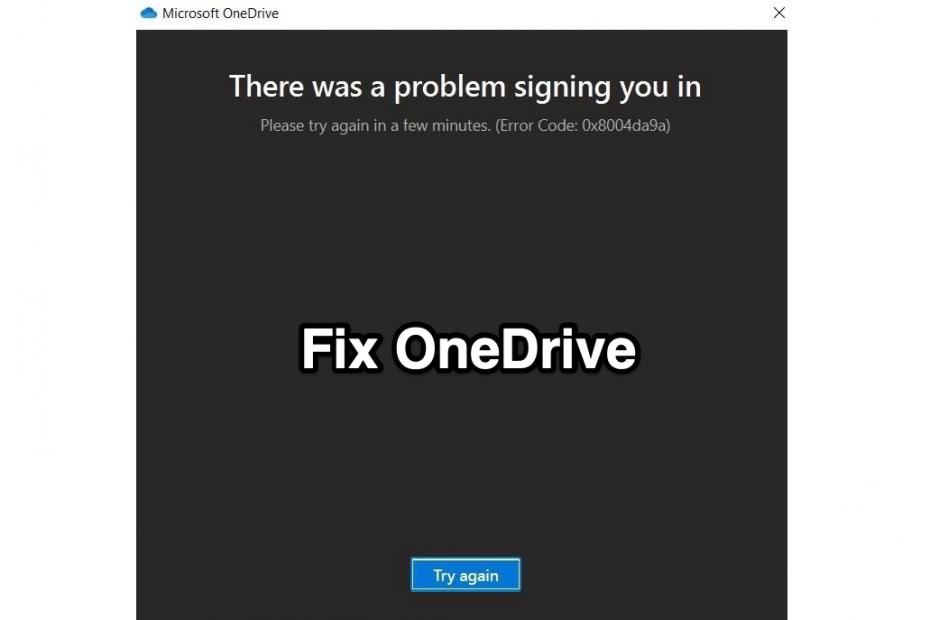 Fix OneDrive Error Code 0x8004da9a