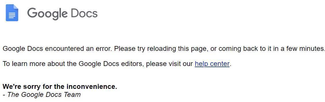 Google Docs encountered an error