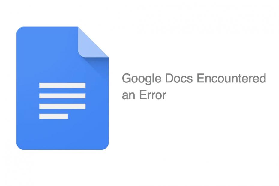 Google Docs encountered an Error Fix