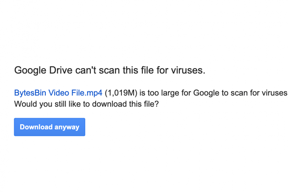 Google Drive Can't Scan this File for Viruses
