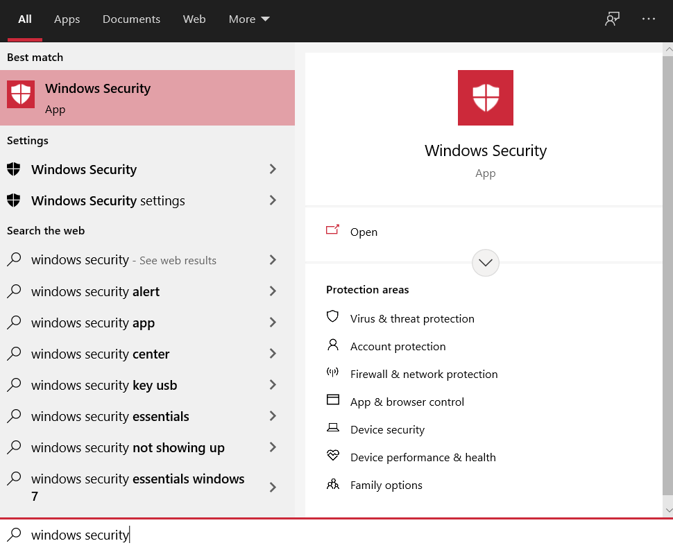 Hit the Windows button and search for Windows Security