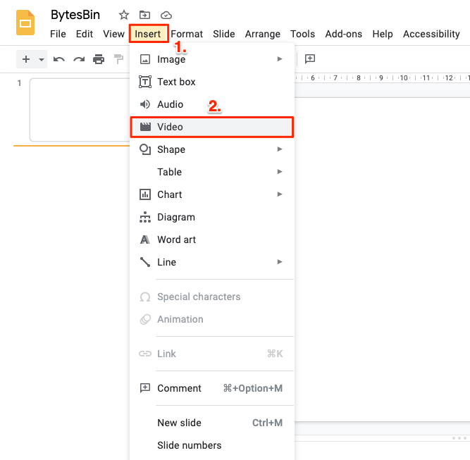 Insert Video with Google Slides