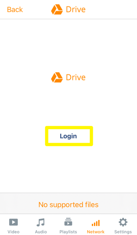 Login with drive on VLC
