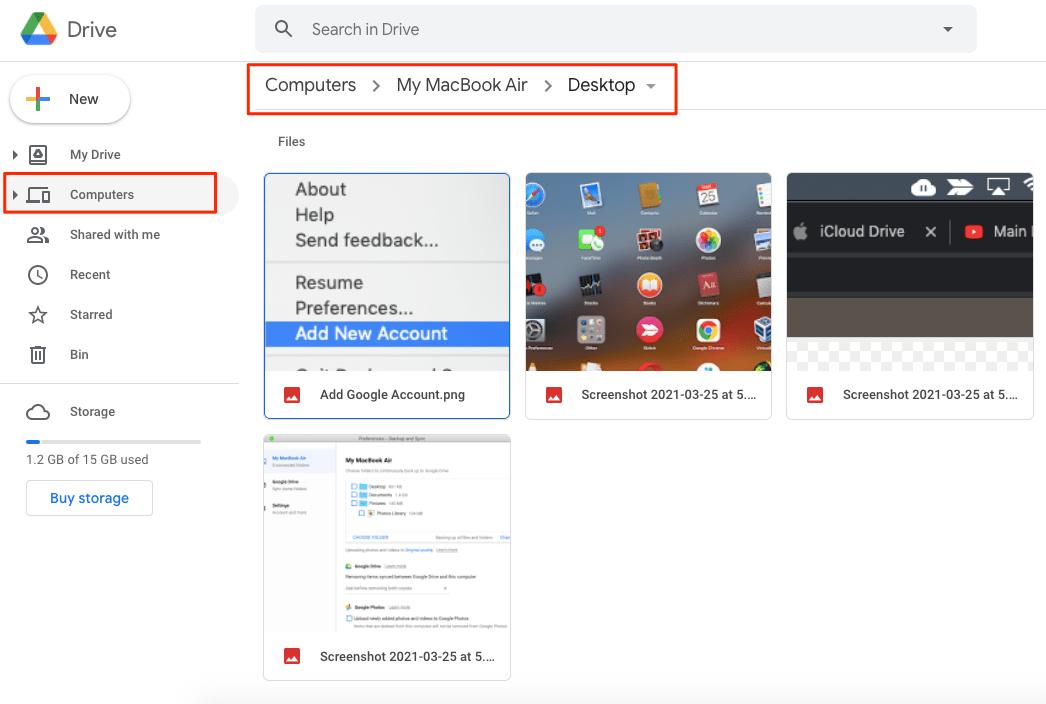 Mac Files Uploaded to Google Drive