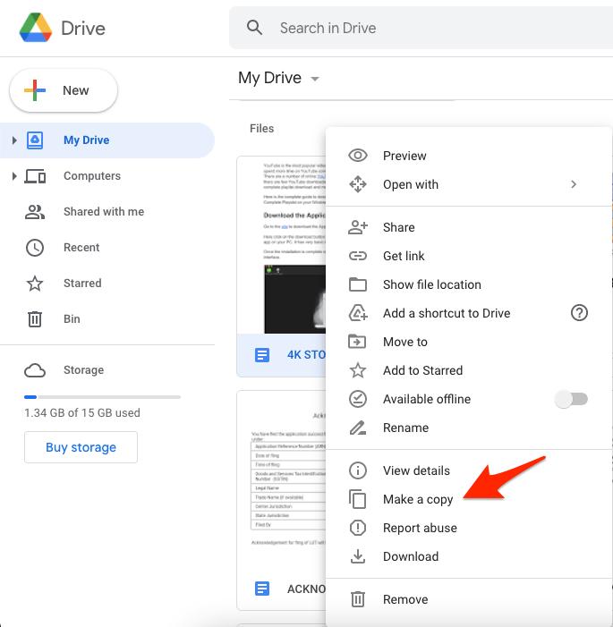 Make a Copy of Doc File