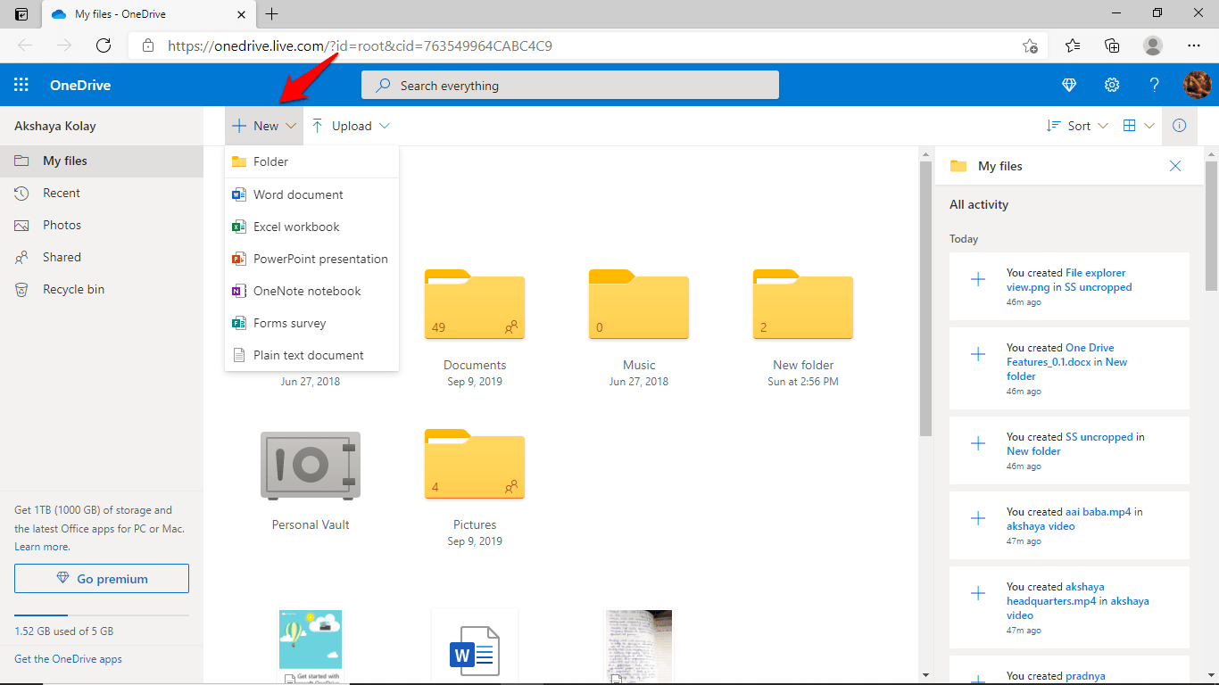 New File:Folder