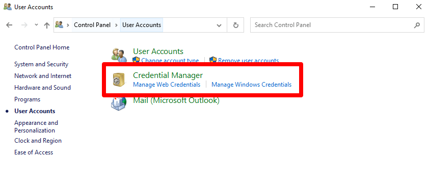 Now, click on the 'Credential Manager' section