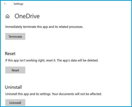 Now, finally, click on the Reset button, this will reset the OneDrive app, and you will have to re-login to use the app