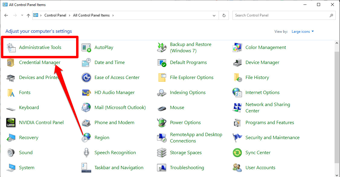 Now, open the Administrative Tools by clicking on it