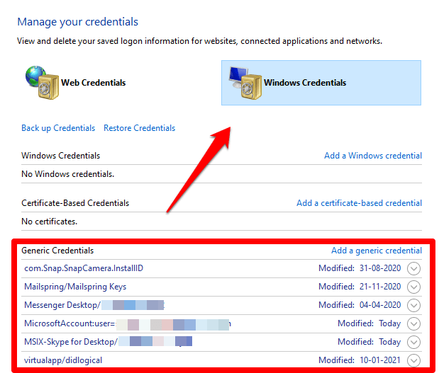 Now, switch to the 'Windows Credentials', and under the 'Generic Credentials', search for 'MicrosoftOffice16_Data…etc'