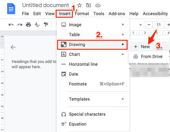 Now click on Insert, select Drawing, and click + New.