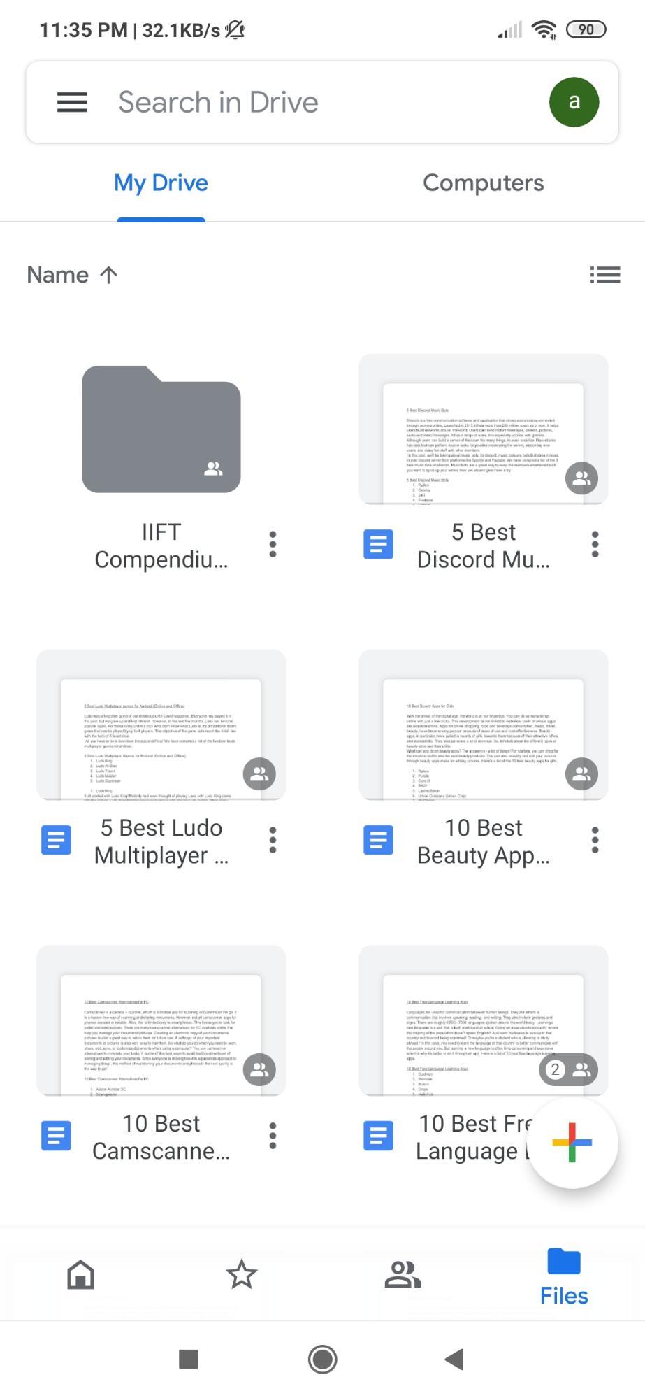 OPen Google Drive App on Mobile
