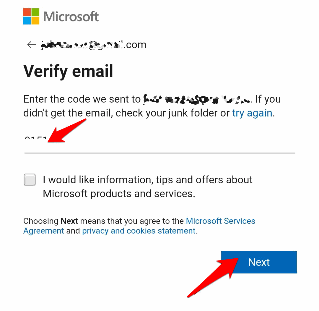 Open the mail and enter the code into the Verification text box