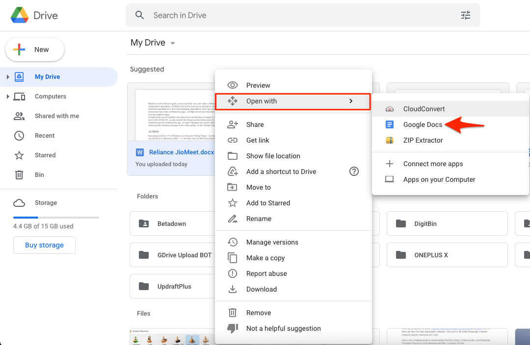 Open docx with Google Docs