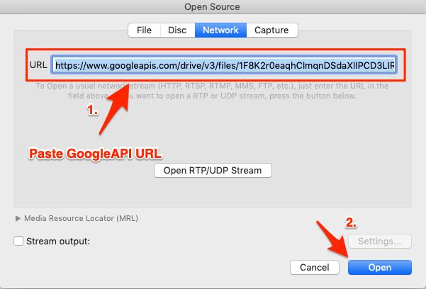 Paste Google Drive API URL and Click Open