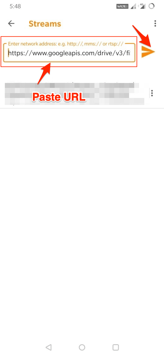 Paste URl VLC ANDROID