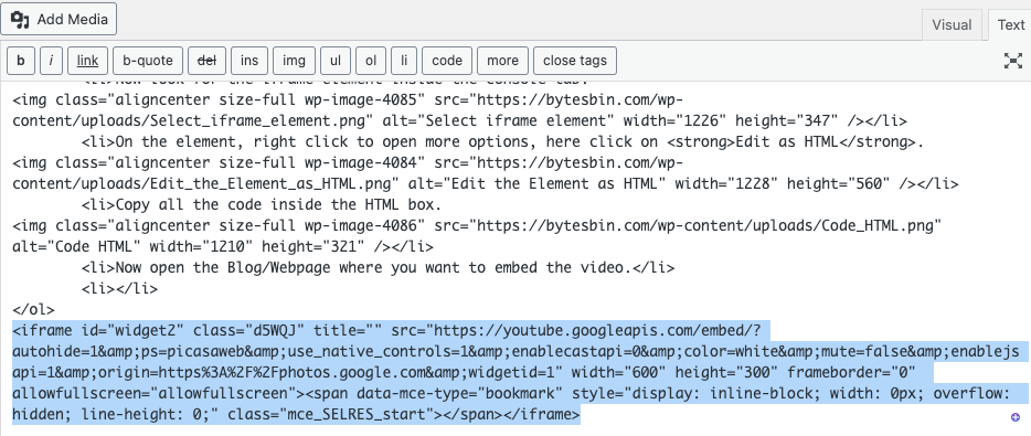 Paste the code in HTML Web Page