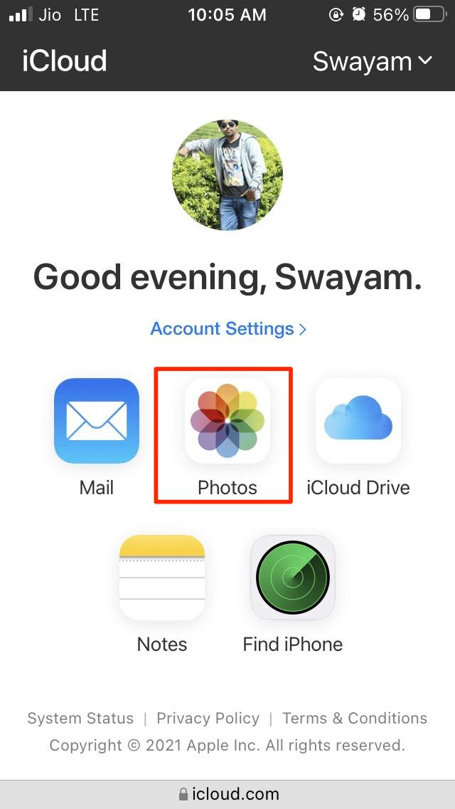 Photos Option iCloud Drive Web