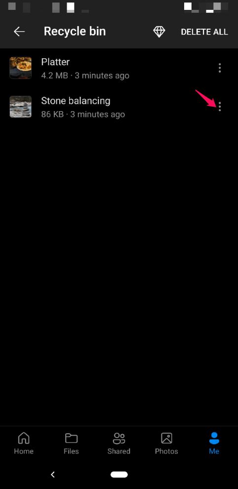 Press 3 Dot Icon on Menu Bin Option