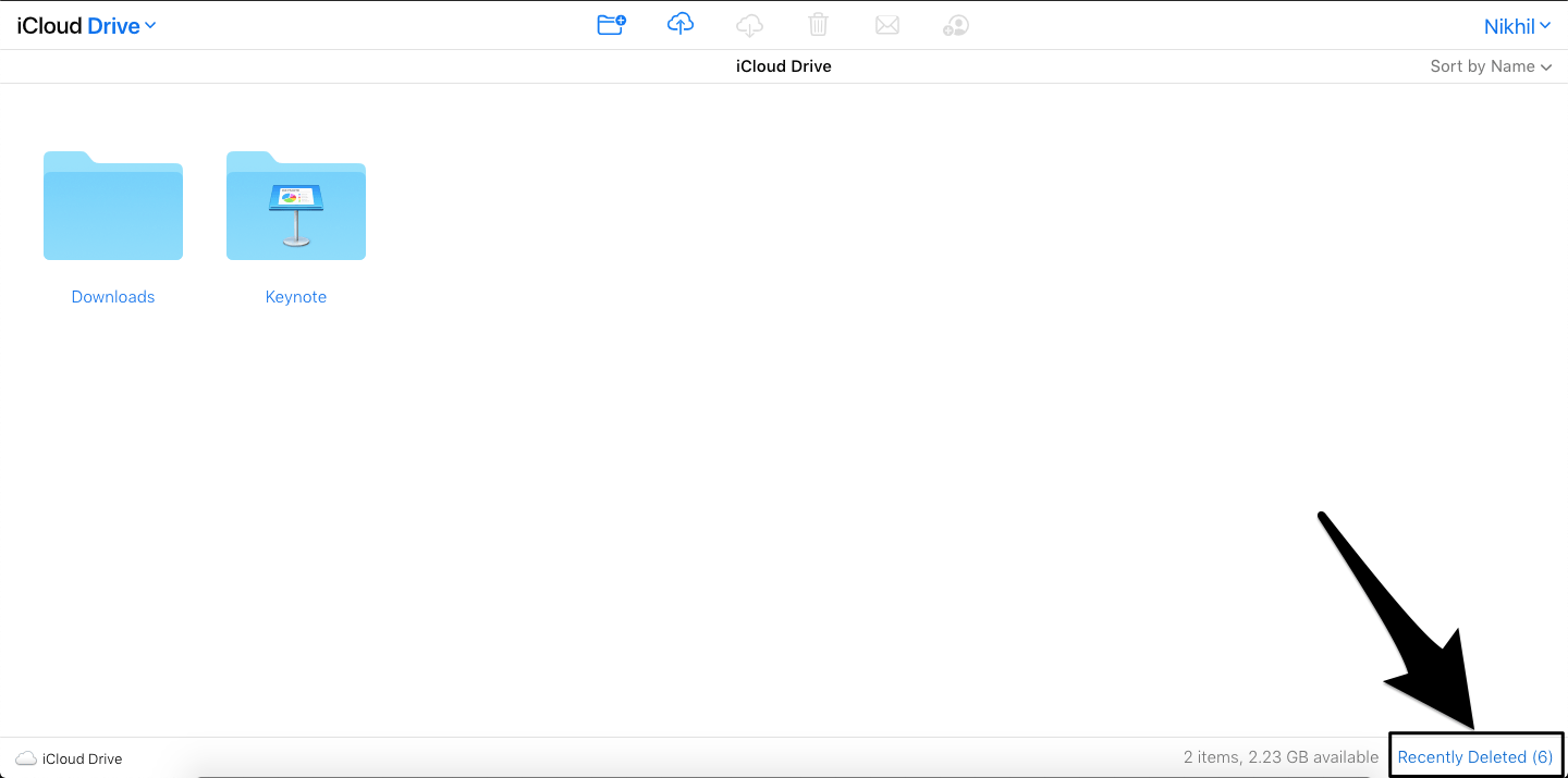 Recently Deleted Section on iCloud