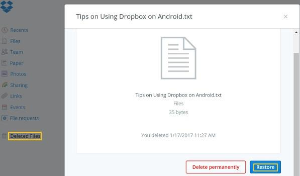 Recover Deleted Files Dropbox Android